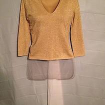 Express Stretch Shirt Sz M Solid Gold 3/4 Sleeve Photo