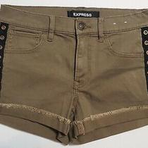 Express Stretch Shortie Mid Rise Cuffed Shorts Army Green Metal Detail Size 4 Photo