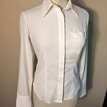 Express Stretch Woman's White Long Sleeve Button Up Shirt Size 1/2 Photo