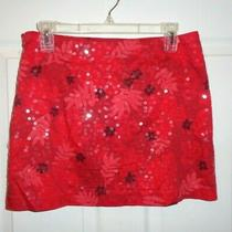 Express Stretch Women' Junior Mini Floral Skirt Red With Clear Sequins Sz 7/8 Photo