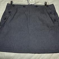 Express Stretch Women's Dark Blue Denim Lined Lace Back Tie Skirt Size 7/8 Photo