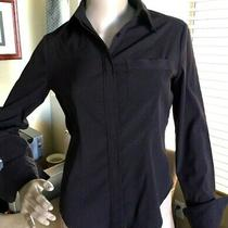 Express Stretch Womens Button Down Career Stretch 5% Spandex Cuffed Sz 1 2 or S Photo