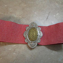 Express Stretch Woven Straw Belt Coral Pink 2-Tone Silver/gold Buckle Sz S/m Vtg Photo