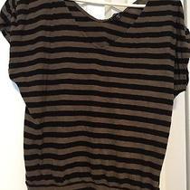 Express Stripe Brown Black Cotton Modal Cap Sleeve Shirt Top Small Photo