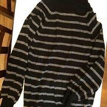 Express Striped Black Metallic Turtleneck Pull-Over Sweater Women's Medium Photo
