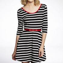 Express Striped Black White Red Three Quarter Sleeve Skater Dress  S W/ Red Belt Photo