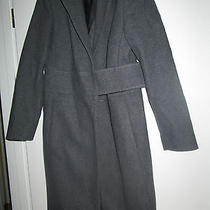 Express Stylish Grey 90% Wool Coat Size 5/6 Unique Look Never Worn Velcro Close Photo