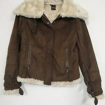 Express Suede Faux Fur Lined Brown Jacket Coat Sz M  Womens So Cute Photo