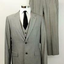 Express Suit 3pc Blazer Jacket Sport Coat Vest Mens Producer Pant Pinstripe 42 R Photo