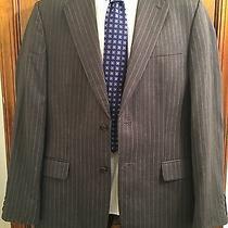 Express Super 100's Men's Premium Wool Charcoal Grey Pinstripe Blazer Size 40r Photo