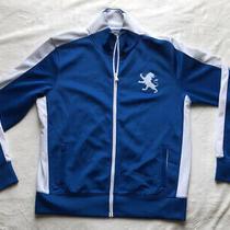 Express Sweat Jacket Royal Blue/ White Lion Logo Mens Size L Full Zip Pockets Photo