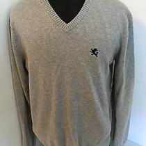 Express Sweater Pullover v-Neck Men Sz L Gray Solid Cotton Casual Long Sleeve Photo