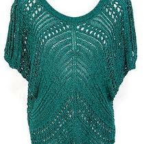 Express Sweater S Women Green Open Knit Crochet Cotton Blend Tunic Shirt Top  Photo