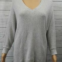 Express Sweatshirt Sz M High Low Back Inverted Full Zip Gray Silver Relaxed  Photo