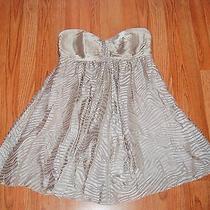 Express Sz 10 Silk Blend Zebra Stripe Gray Silver Strapless Mini Dress Cocktail Photo