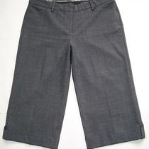 Express Sz 12 Editor Stretch Gray Crop Capri Pants Career Gaucho Wide Leg Rayon Photo