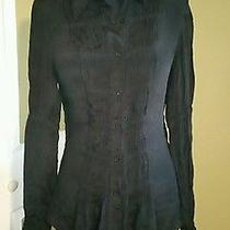 Express Sz 13/14 Silk Black  Blouse Top Shirt Photo