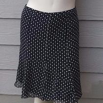 Express Sz 2 Black White Polka Dot 100% Silk a Line Skirt Womens Photo