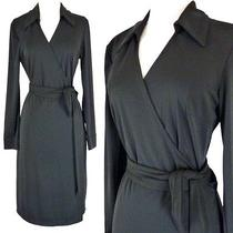 Express Sz  3 4 Black Full Wrap Dress Long Sleeve Collar Career Wear to Work 95 Photo