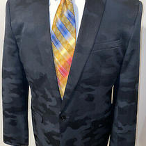Express Sz 44r Slim Camo Tuxedo Jacket Suit Blazer Black Gray Camo Camoflauge Photo