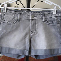 Express Sz 6 Gray Stretch Denim Cuffed Jean Shorts Studded Pockets Photo