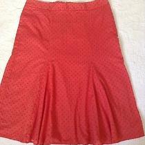 Express Sz 7/8 100% Cotton Swiss Dot Orange a-Line Lined Skirt Photo