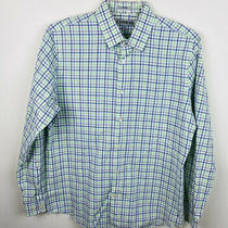 Express Sz Large 16 - 16.5 Green Blue Check Fitted Long Sleeve Shirt Photo