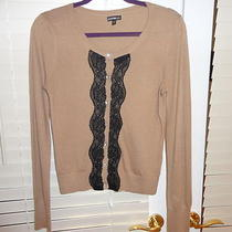 Express Sz M Button Up Top Tan With Black Lace and Rhinestones Adorable Photo