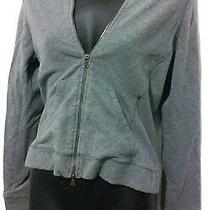 Express Sz M Cotton Velour Blend Gray Hooded Zip Up Sweater Photo
