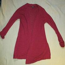 Express Sz M Women's Maroon Long Sleeved Pull on Wrap Sweater Jacket Photo
