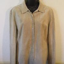 Express Tan 100% Leather Shirt Women's Size 11/12 Photo