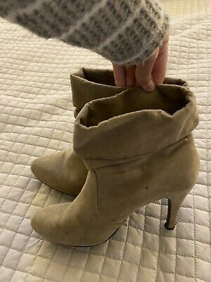 Express Tan Faux Suede Booties Size 8 Womens Photo