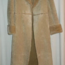 Express Tan Suede Fur Lined Fur Collar & Sleeves Long Leather Jacket Size Small  Photo