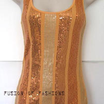 Express Tangerine Sequin Ribbed Stretch Tank Top Small Photo
