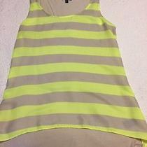 Express Tank Top Medium Striped Yellow Neon Tan  Photo