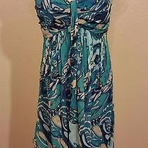 Express Teal Crinkle Texture Silk Floral Strapless Sexy Dress 10 Photo