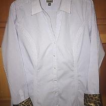 Express the Essential Original Long Sleeve Shirt Womens Size Xl Blue Pinstripe Photo