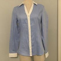 Express the Essential Women Size S Shirt Work Career Blue Long Sleeve Photo