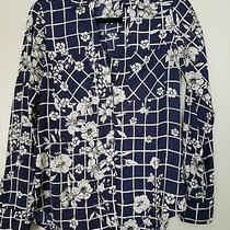 Express the Portofino Shirt Navy Beige Flower Pattern Long Sleeve Blose Size Xs Photo