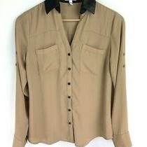 Express the Portofino Shirt Size Xs Womens Tan Faux Leather Collar v-Neck Button Photo