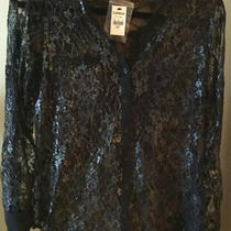 Express the Portofino Shirt Sz S Black Lace Button Up Blouse - Roll Up Sleeves Photo