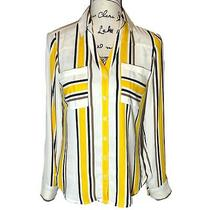 Express the Portofino Xs Button Down Slim Fit Shirt Striped Yellow White v-Neck Photo