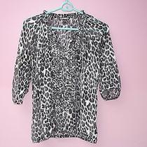 Express Top Ablack and White Animal Print Photo