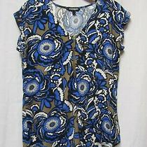Express Top Shirt Blouse Xs 2/4 Bust 34 Length 22-25 Blue/black/white/brown Photo