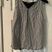 Express Top Shirt Sleeveless Black/white/silver Xs Ladies Photo