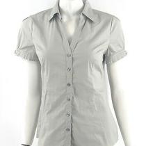 Express Top Size Medium Gray Button Up Silver Hardware Collared Dress Shirt Photo