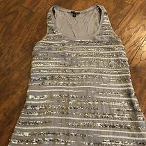 Express Top Size S Silver Sequin Front Sleeveless Shirt Womens Photo