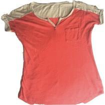 Express Top Size Xs Peach Cream Short Sleeve v Neck T Shirt Womens Extra Small Photo