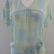 Express Top Xs Blue Green Paisley Sheer Silk Sequins Short Sleeve Shirt Blouse Photo