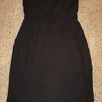 Express Trendy Strapless Dress With Pockets Black S  Photo